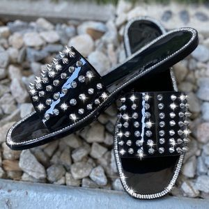 Shoes - Black PVC Jelly Spike Stud Sandals